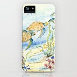 Sea Turtles, Coral and Kelp iPhone Case