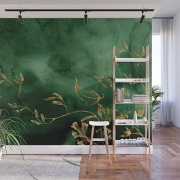 Winter Gold Flowers On Emerald Marble Texture Wall Mural