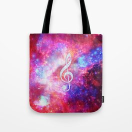 Galaxy Nebula Glitter Music Note Pink Space Tote Bag