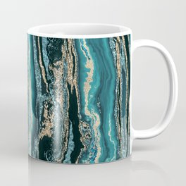 Turquoise Gold Sparkling Luxury Marble Gemstone Art Coffee Mug