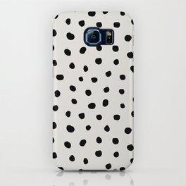 Modern Polka Dots Black on Light Gray iPhone Case