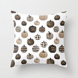Watercolor Pumpkins -  pumpkin pattern, plaid, dots, pattern, buffalo plaid, sepia, brown, muted, earth tones Throw Pillow