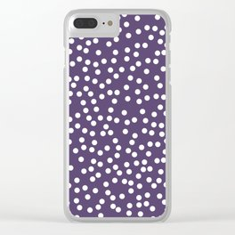 Purple and White Polka Dot Pattern Clear iPhone Case