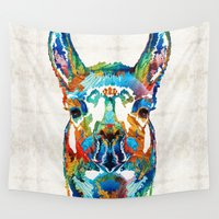 peru Wall Tapestries featuring Colorful Llama Art - The Prince - By Sharon Cummings by Sharon Cummings
