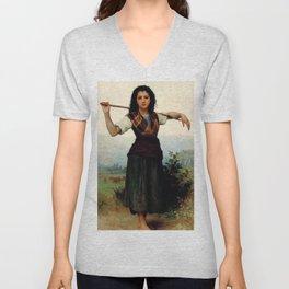 """William-Adolphe Bouguereau """"The Little Shepherdess"""" Unisex V-Neck"""