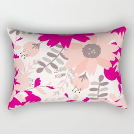 Big Flowers in Hot Pink and Accent Gray Rectangular Pillow