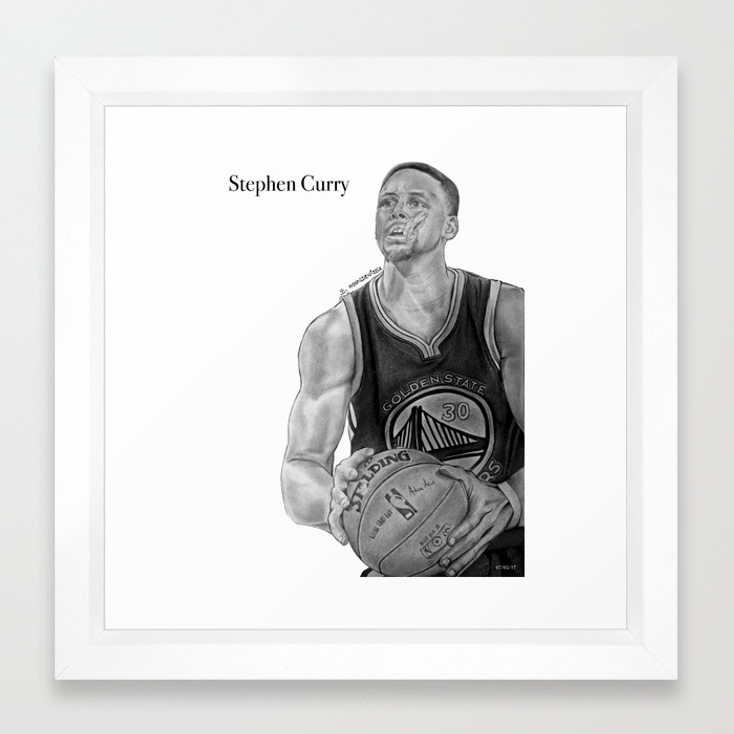 newest collection 9d51f f6315 Steph Curry (black and white) Framed Art Print by kash2dawizzle   Society6