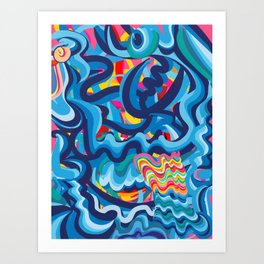 Abstract Summer Pop Graffiti Art 3D Lines  Art Print