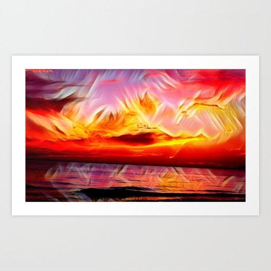 Sky on Fire (Sunset over Great Lake Michigan Beach) Art Print