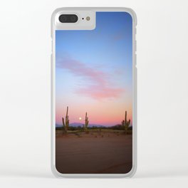 Tres Saguaros  & Full Moon Clear iPhone Case