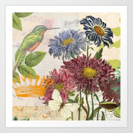 Dahlia Flowers with a Bird and a Crown Art Print