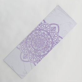 Lavender Mandala on White Marble Yoga Mat