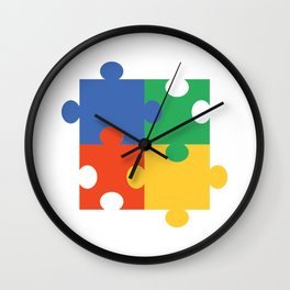 Puzzle Piece Geek Numbered Squares Puzzlers Thinking Gift Wall Clock