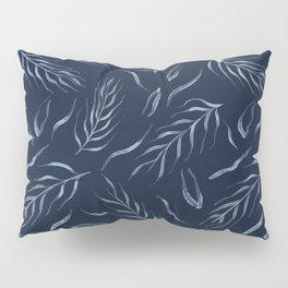 Falling Leaves Indigo Faded Denim Blue Batik Pillow Sham
