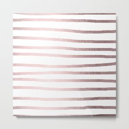 Simply Drawn Stripes Rose Gold Palace Metal Print