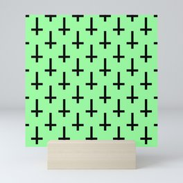Black and Green Inverted Cross Pattern Mini Art Print