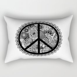 Zen Doodle Peace Symbol Black And White Rectangular Pillow