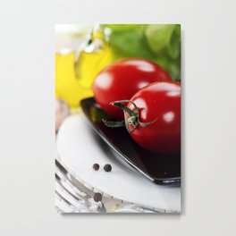 Tomatoes, Olive oil and herbs Metal Print