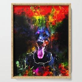 doberman dog red flowers meadow splatter watercolor Serving Tray