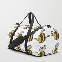 Hand drawn black yellow stripes cute honey bee illustration Duffle Bag