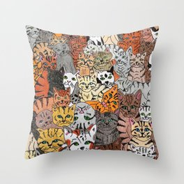 Cats, cats and more cats Throw Pillow