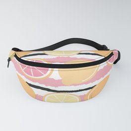 cute striped pattern background with lemons and oranges Fanny Pack