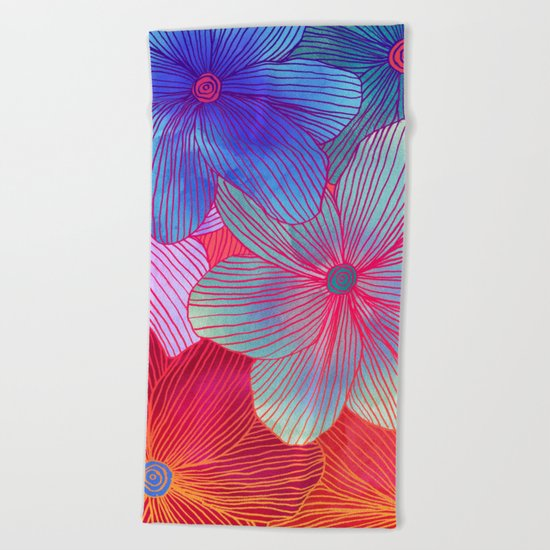 Between the Lines 2 - tropical flowers in purple, pink, blue & orange Beach Towel