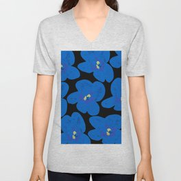 Blue Retro Flowers on Black Background #decor #society6 #buyart Unisex V-Neck