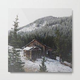 Snowy Cabin Metal Print