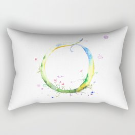 Letter O watercolor - Watercolor Monogram - Watercolor typography - Floral lettering Rectangular Pillow