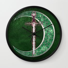 Green Celtic Moon Wall Clock