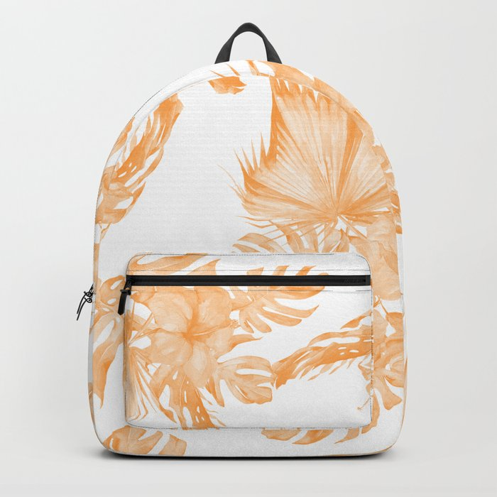 Island Vacation Hibiscus Palm Coral Orange Backpack