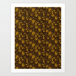 bells and birds and ornaments in gold Art Print