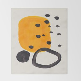 Unique Abstract Unique Mid century Modern Yellow Mustard Black Ring Dots Throw Blanket