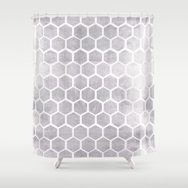 Silver bee cube Shower Curtain
