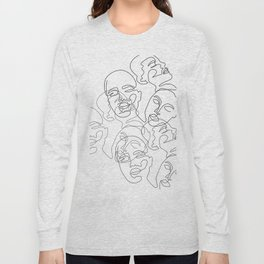 Lined Face Sketches Long Sleeve T-shirt