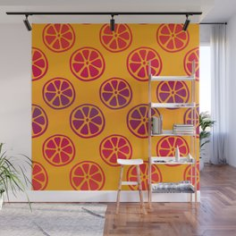 Tropical exotic red and purple purple juicy orange citrus slices decorative summer fruity bright sunny orange whimsical cute pattern design. Wall Mural