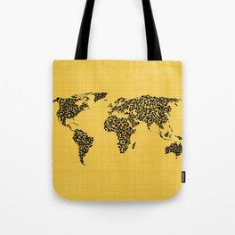 Yellow world map Tote Bag