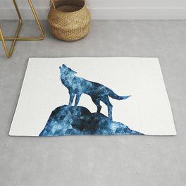 Howling Wolf blue sparkly smoke silhouette Rug
