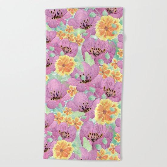 floral pattern. 3 Beach Towel