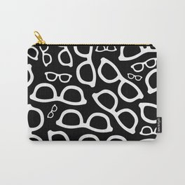 Smart Glasses Pattern - White on Black Carry-All Pouch