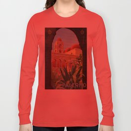 vintage 1920s Palermo Sicily Italian travel ad Long Sleeve T-shirt