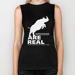 Unicorns Are Real 2, white text Biker Tank