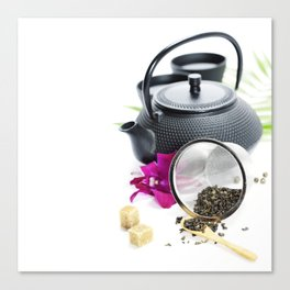 Asian tea set on  white background Canvas Print