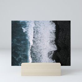 Aerial of a Black Sand Beach with Waves - Oceanscape Mini Art Print