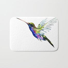 Flying Hummingbird, Blue green wall art minimalist bird Bath Mat