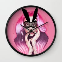 cherry blossom Wall Clocks featuring Cherry Blossom by Wendy Stephens