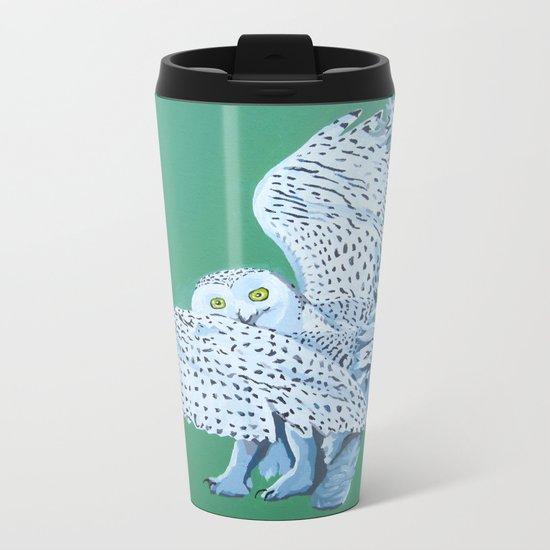 Cat Owl Metal Travel Mug