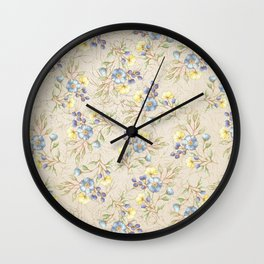 Vintage ivory linen blue yellow gold floral pattern Wall Clock