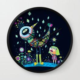 Bird with Human Wall Clock